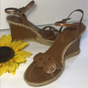 NINE WEST Tan with Weave Embroider Wedge Sandals